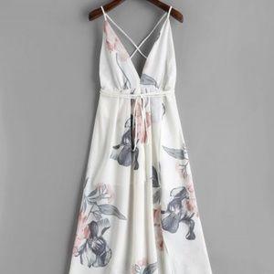 Dresses & Skirts - White floral backless dress with v-neck